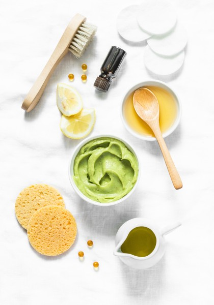 Honey-and-avocado-face-mask-top-view-Beauty-youth-skin-care-concept