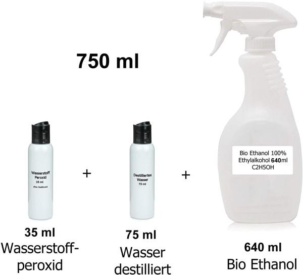 DIY-SET 750ml Oberflächen-Spray Rohstoffe WHO-Rezept Set Ethanol 96% +Wasserstoffperoxid 3%+Destilli